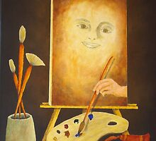 Self-Portrait In Progress by Allegretto