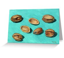 stash of pistachios Greeting Card