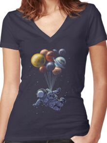 Space Travel Women's Fitted V-Neck T-Shirt