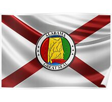 Alabama State Seal over State Flag Poster