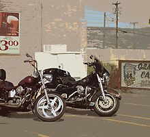 Route 66 Motorcycles with a Dry Brush Effect by Frank Romeo