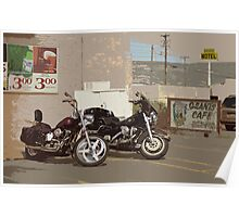 Route 66 Motorcycles with a Dry Brush Effect Poster