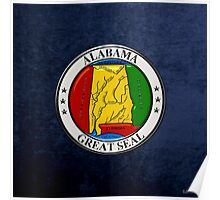 Alabama State Seal over Blue Velvet Poster