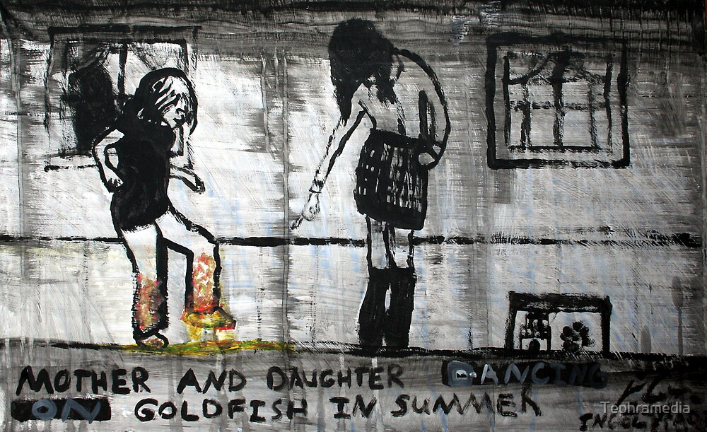 Mother and Daughter Dancing on Goldfish in Summer, 2011, Acrylic on Paper, Justin Curfman by Tephramedia