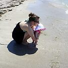 Mommy and Baby at the beach by Laurie Perry
