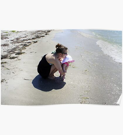 Mommy and Baby at the beach Poster