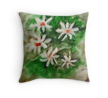 Antique Floral #3, watercolor Throw Pillow