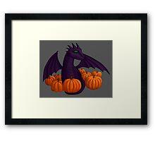 Little Purple Dragon with Pumpkin Hoard Framed Print