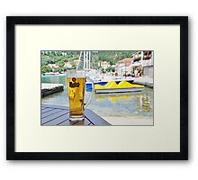 Mythos beer at Lakka, Paxos Framed Print