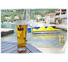 Mythos beer at Lakka, Paxos Poster