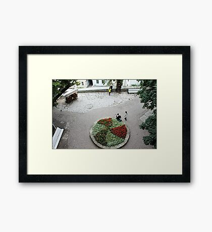 A small town square Framed Print