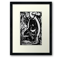 Nude Woman Sitting - Ink on Glass Framed Print