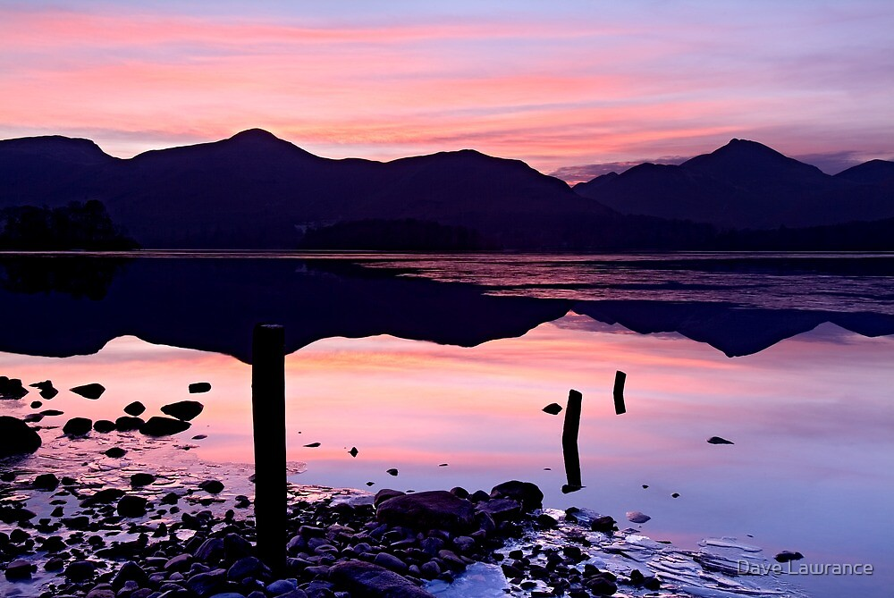 Derwentwater winter sunset - The Lake District by Dave Lawrance