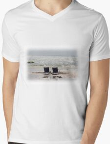 Beach chairs on a sand bar at low tide Mens V-Neck T-Shirt