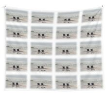 Beach chairs on a sand bar at low tide Wall Tapestry
