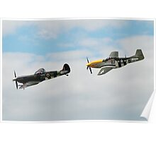 Mustang and Spitfire formation Poster