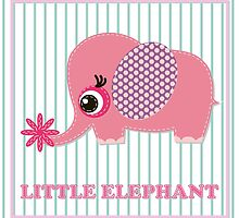 Cute girl elephant illustration for apparel or other uses,in vector. Baby showers, parties for baby girls. by IrinaShi
