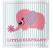 Cute girl elephant illustration for apparel or other uses,in vector. Baby showers, parties for baby girls. Poster