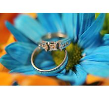 wedding rings in flowers Photographic Print