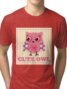 Cute girl owl illustration for apparel or other uses,in vector. Baby showers, parties for baby girls. Tri-blend T-Shirt