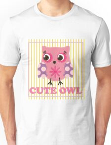 Cute girl owl illustration for apparel or other uses,in vector. Baby showers, parties for baby girls. Unisex T-Shirt
