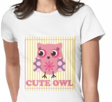 Cute girl owl illustration for apparel or other uses,in vector. Baby showers, parties for baby girls. Womens Fitted T-Shirt