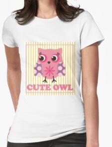 Cute girl owl illustration for apparel or other uses,in vector. Baby showers, parties for baby girls. T-Shirt
