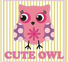 Cute girl owl illustration for apparel or other uses,in vector. Baby showers, parties for baby girls. by IrinaShi