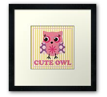 Cute girl owl illustration for apparel or other uses,in vector. Baby showers, parties for baby girls. Framed Print