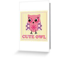 Cute girl owl illustration for apparel or other uses,in vector. Baby showers, parties for baby girls. Greeting Card