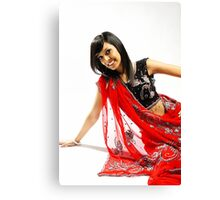 Indian girl in red sari Canvas Print