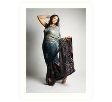 Indian girl in blue sari Art Print