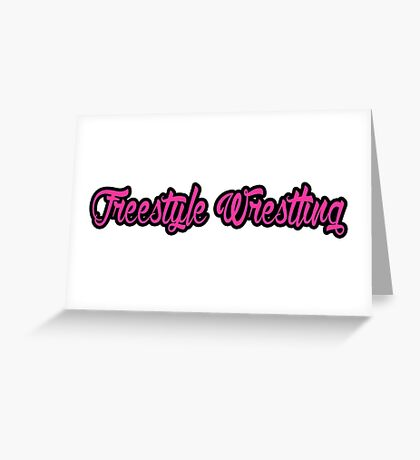 Freestyle Wrestling Pink Greeting Card