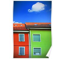 Colored walls and a cloud Poster