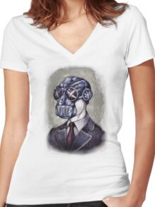 Gas Mask Man Women's Fitted V-Neck T-Shirt
