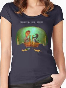 PENGUIN, SHE SAXED - dark Women's Fitted Scoop T-Shirt