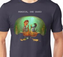 PENGUIN, SHE SAXED - dark Unisex T-Shirt