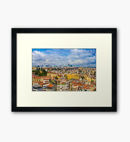 Areal view over delightful &vibrant Istanbul, TURKEY Framed Print