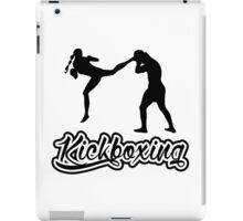 Kickboxing Female Jumping Back Kick Black  iPad Case/Skin