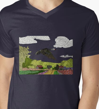 Flying Crane Mens V-Neck T-Shirt
