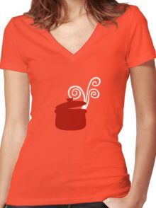 Mediterranean Kitchen  Women's Fitted V-Neck T-Shirt