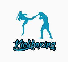 Kickboxing Female Jumping Back Kick Blue  T-Shirt