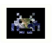 Space Invader Earth Art Print