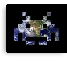 Space Invader Earth Canvas Print