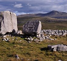Ingleborough and limestone boulders by Dave Lawrance