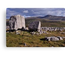 Ingleborough and limestone boulders Canvas Print
