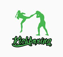 Kickboxing Female Jumping Back Kick Green  T-Shirt