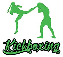 Kickboxing Female Jumping Back Kick Green  by yin888