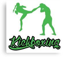 Kickboxing Female Jumping Back Kick Green  Canvas Print