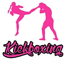 Kickboxing Female Jumping Back Kick Pink  by yin888